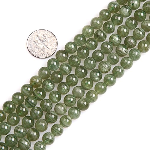 Gem-inside 8MM Natural Round Gemstone Smooth Green Apatite Tiny Seed Beads For Jewelry Making Strand 15