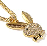Grenf Fashion 18k Gold Silver Plated Mens Hip-hop Rhinestone Playboy Bunny Club Necklace Pendant with 3mm 31'' Inch Cuban Chain (Gold)