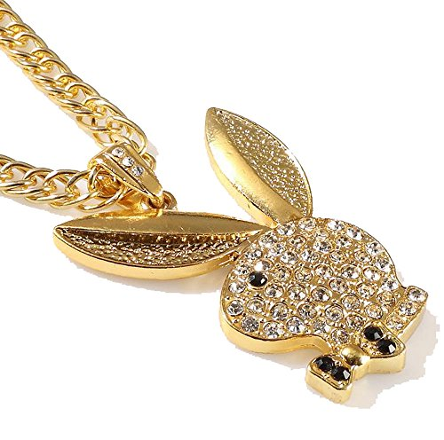 (Grenf Fashion 18k Gold Silver Plated Mens Hip-hop Rhinestone Playboy Bunny Club Necklace Pendant with 3mm 31