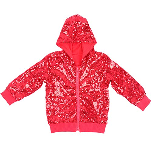 Cilucu Kids Jackets Girls Boys Sequin Zipper Coat Jacket for Toddler Birthday Christmas Clothes Hoodie Red 5-6years ()
