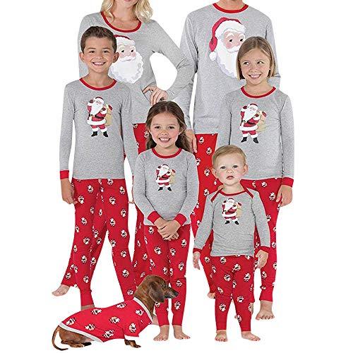 Hatop Family Matching Pajama Set Children Boys Girls PJs Long Sleeve Tops Printed Pant Set Kids Christmas Pajamas Sleepwear (Red-Kids, 5-6 Years) -