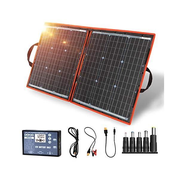 51h56OWT FL Dokio 80 Watt Solartasche Faltbares Mobiles Solar-Panel Mit Effektivsten Monokristallinen Zellen,Solar-Laderegler(2 Usb…