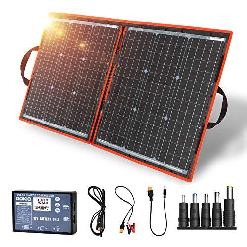 DOKIO - Kit de panel solar de 80W monocristalino portátil plegable para carga de batería de 12 V con controlador de salida USB, impermeable para ...