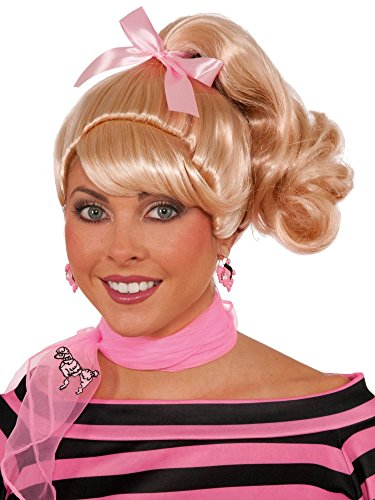 Forum Novelties Women's 50's Cutie Wig with Pink Bow, Blonde, One Size -