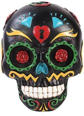 4.75 L Pacific Giftware Yellow Day of The Dead Skull Box Figurine Made of Polyresin