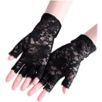 1 Paar Vrouwen Kant Vingerloze Handschoenen Kostuum Handschoenen Rose Patroon Gotische Party Handschoenen Voor Kerstmis…