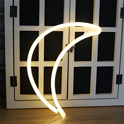 Crescent Neon Light Moon LED Neon Signs Art Wall Lighting Decor for House Bar Recreational, Birthday Party Kids Room, Living Room, Wedding Party