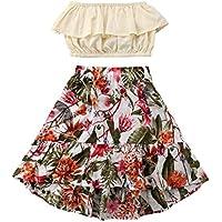 2 peças/conjunto de sutiã infantil fashion para meninas + saia maxi floral