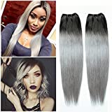 SuperWigy 7A ombre Hair Extensions Ombre 1B T Grey ombre weave 3PCS lots 50g/pc no shedding tangle free Grey ombre weave