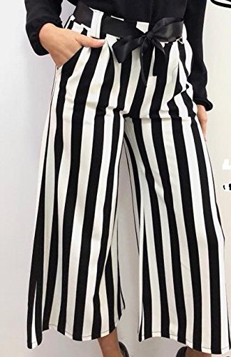 bianco e donna a vita e righe eleganti elastico in Pantaloni nero cintura con Uqtwxw