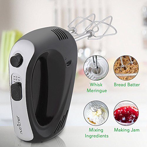 Cordless Electric Kitchen Hand Mixer - Portable Handheld Rechargeable Stainless Steel Whisk Machine with 3 Speed Settings - for Egg, Cake, Dough, Glue Pudding, Bread, Cookies - NutriChef PKHNDMX32 by NutriChef (Image #2)