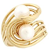 14k Solid Yellow Gold Two Freshwater Cultured Pearl Swirl Eye Catching Unique Ring
