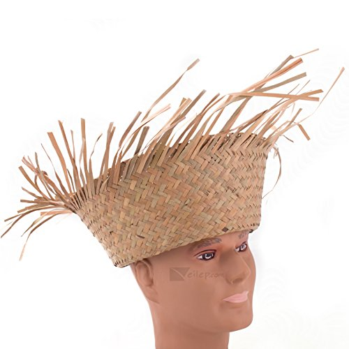 US Toy Raw Edge Straw Beachcomber Hats, Natural, One-Size 7.5