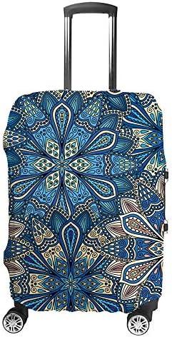 スーツケースカバー トラベルケース 荷物カバー 弾性素材 傷を防ぐ ほこりや汚れを防ぐ 個性 出張 男性と女性抽象的な花の背景