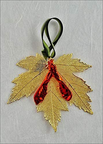 amazon com double gold silver maple leaf ornament with iridescent maple seed real leaf ornaments silver maple leaf jewelry double gold silver maple leaf ornament with iridescent maple seed real leaf ornaments silver maple leaf