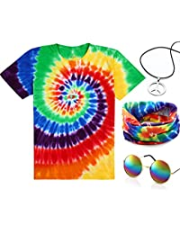 4 Pieces Hippie Costume Set, Include Colorful Tie-Dye T-Shirt, Peace Sign Necklace, Headband and Sunglasses for Theme Parties (L, Rainbow)