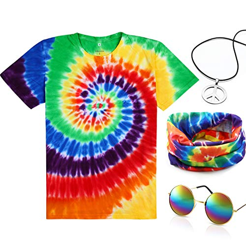 4 Pieces Hippie Costume Set, Include Colorful Tie-Dye T-Shirt, Peace Sign Necklace, Headband and Sunglasses for Theme Parties (Rainbow, XS) -