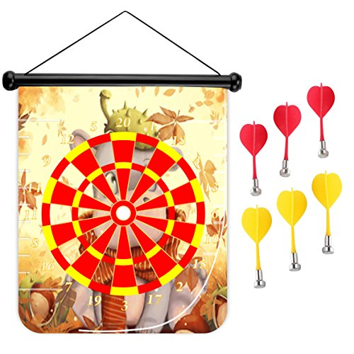 15 inches Magnetic Dart Board Double Sided Hanging Dart Board Set and Bullseye Game! Pony