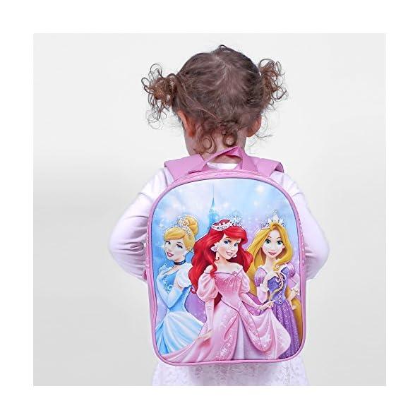 Zainetto-bambina-Principesse-Disney-Cartella-scuola-primaria-e-asilo-stampa-luccicante-Ariel-Cenerentola-e-Rapunzel-Zaino-con-spallacci-imbottiti-regolabili-Rosa-31x25x10-cm-Perletti