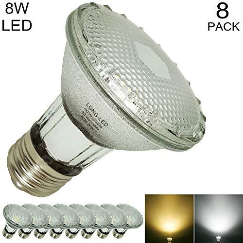 Glass PAR20 LED Bulb Spotlight Indoor Outdoor Flood Light,8-Watt(50W-75W Par20 Halogen Light Bulb Equivalent) LED PAR20 Warm White 2700K,Soft Light 3000-Kelvin,120-Volt E26 Base,Waterproof,38°,600LM ()