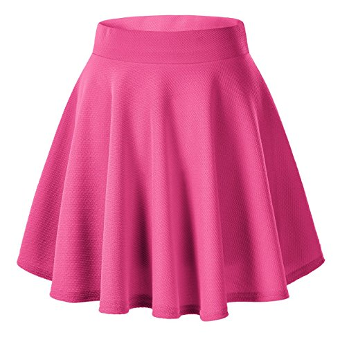 Urban CoCo Women's Basic Versatile Stretchy Flared Casual Mini Skater Skirt (Small, Rose)