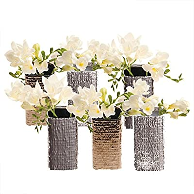"""Chive - Set of 6 Weave, 2"""" in Wide 4.25"""" Tall Small Square Ceramic Bud Flower Vase, Decorative Floral Vase for Home Decor Living Room Centerpieces and Events - Bulk (Mixed) - CHIVE INC was established over 15 years ago and they currently design and make thousands of glass and ceramic flower vases and other fun bits of home décor! In addition to all these vases they make over 200 plant pots of varying sizes, colors, materials, and textures. I am thrilled to offer on my Amazon page just a small selection of their catalog, including this set of contemporary but classic ceramic bud vases, Weave. ATTRACTIVE MODERN DESIGN: The Weave vases are small rectangle ceramic flower vases and are essential decorations for any wedding, event, or dinner party or for simply creating your indoor flower arrangements and bouquets. A small bouquet of short flowers looks lovely in them! UNIQUE DECORATIONS FOR STYLISH HOME DECOR: Use these table top vases for small short flowers or clippings from your garden. This light weight bud vase makes flower arranging fun and easy. They are perfect for arranging roses, and just as great for single flower. - vases, kitchen-dining-room-decor, kitchen-dining-room - 51h58jgB4RL. SS400  -"""