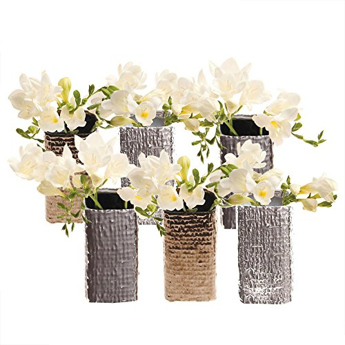 - Chive - Weave, Small Square Ceramic Bud Flower Vase, Decorative Floral Vase for Home Decor Living Room Centerpieces and Events - Bulk Set of 6 (Mixed)
