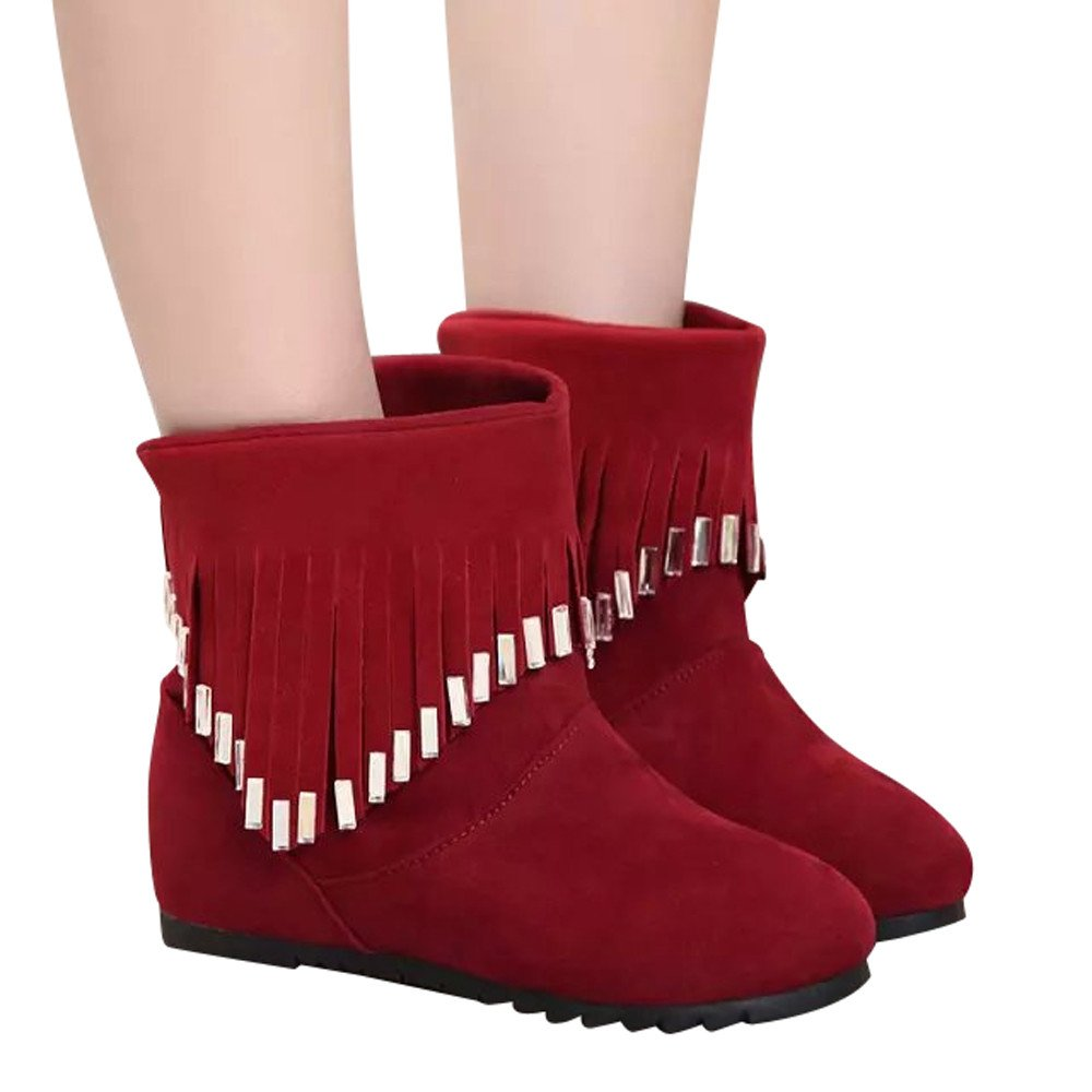 BootsFor Womens -Clearance Sale ,Farjing Women Boots Flat Low Slip-On Tassel Ankle Boots Casual Shoes Martin Boots(US:5,Red )