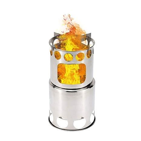 WPCBAA Barbacoa de carbón de Acero Inoxidable Barbacoa de leña Horno Estufa de leña Cocina de