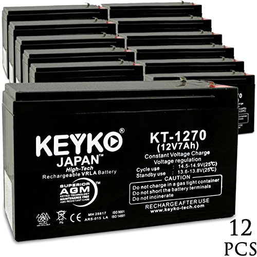 Deltec PRB220 UPS 12V 7Ah SLA Sealed Lead Acid AGM Rechargeable Replacement Battery Genuine KEYKO (F1 Terminal W/F2 Adapter) - 12 Pack by KEYKO