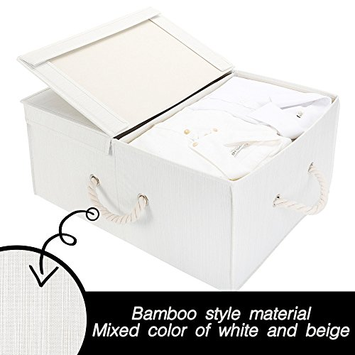 StorageWorks Storage Box with Lid and Strong Cotton Rope Handle, Foldable Clothes Closet Organizer, White, Bamboo Style, Jumbo, 65L Huge Capacity ()