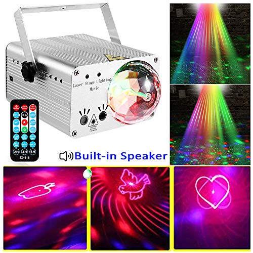 LED Stage Lights RGB Mixed Effects Laser Magic Ball Sound Activated Remote Control 36 Patterns Projector Stage Lighting with Built-in Audio USB Bluetooth for Wedding Birthdays Christmas Party(White) (White Lights Wedding)