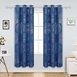 Deconovo Thermal Insulated Foil Pattern Blackout Curtains Grommets Window Coverings Curtain Drape for Boys Room 42 x 84 Inch Dark Blue 2 Drapes