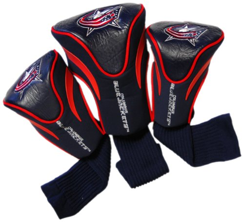 (Team Golf NHL Columbus Blue Jackets Contour Golf Club Headcovers (3 Count), Numbered 1, 3, & X, Fits Oversized Drivers, Utility, Rescue & Fairway Clubs, Velour lined for Extra Club Protection)