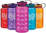 Wide Mouth 34oz Water Bottle - Inspirational Water Tracker for Hydration Tracking with Durable Strap by LivinLotus (BPA Free), Fuchsia
