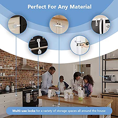 Grey, 2pcs-F Child Protection Cabinet Drawer Door Lock Multi-Functional Refrigerator Security Adjustable Baby Safety Lock No Screws