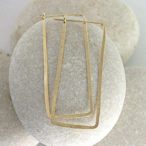 Hammered Gold Rectangle Hoop Earrings - Hoop Rectangle Earrings