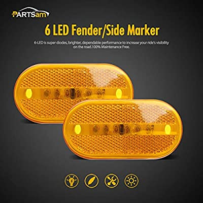 Partsam 4Pcs 4 Inch Oblong Trailer Amber Side Marker and Clearance Lights 6 Diodes 2x4 Sealed Surface Mount with Reflex Lens For RV Camper Trucks Van Caravan Rectangle Rectangular Led Lights: Automotive
