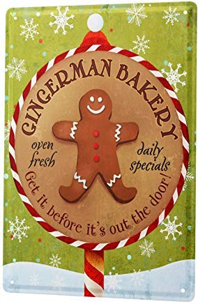 Fred12erica Aluminum Sign, Retro Sign Vintage Decorative Tin Sign Metal Plate Poster Plaque Food Restaurant Bakery Gingerbread Man 8