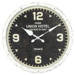 Windy Hill Collection 16 x 16 Vintage Decorative Wall Clock Union Hotel Paris France Black Face White Rim WC9-EA6062