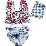 Yunqir Kids Wetsuit 3 Pcs/Set Children's Short Split Swimsuits Kids Flowers Strawberries Sunscreen Wetsuit for Water Sports(Red)