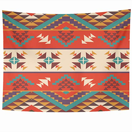 Armko Tapestry Wall Hanging Art 80 x 60 Inches Mexican Orange Navajo Aztec Pattern Peru Abstract Tribal Mexico Chevron Home Tapestries Office Bedroom Living Room Dorm