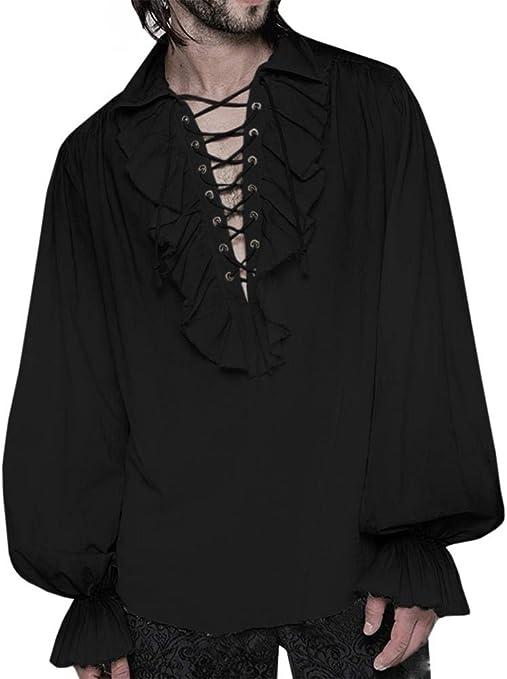 Pirate Shirt Buccaneer Renaissance Tops Blouse Mens Gothic Punk Costume Shirts