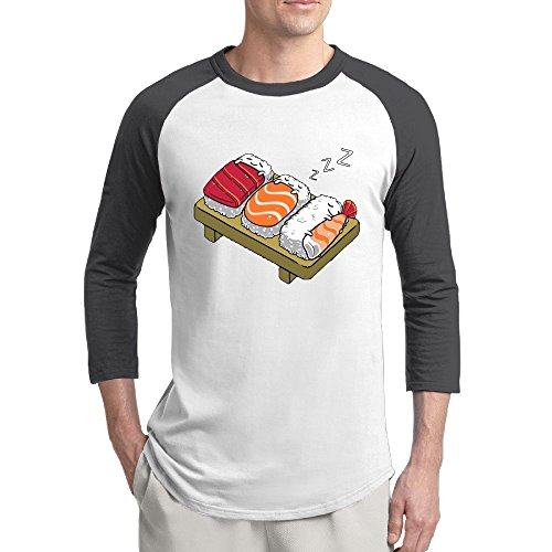 Mngjijis Sleeping Sushi Men's 3/4 Sleeve Raglan Baseball Tshirts Black XX-Large