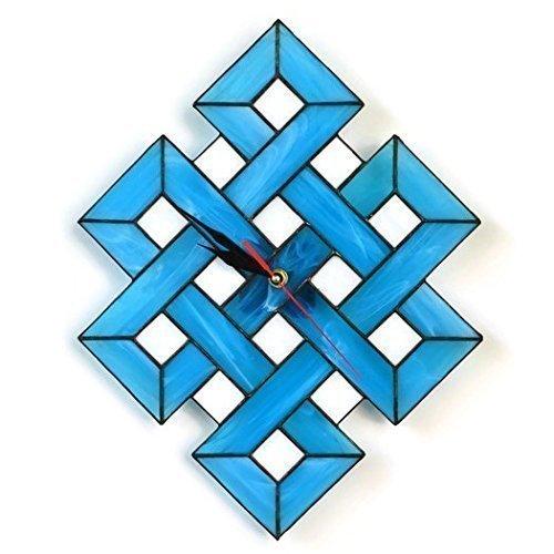 ZangerGlass Handmade Large Celtic Shield Knot Stained Glass Wall Clock Blue White, Modern Home Decor
