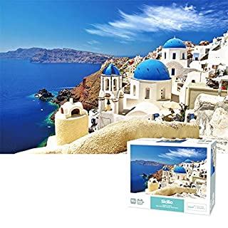 """OZMI Puzzles for Adults 1000 Pieces, Jigsaw Puzzles for Adults and Kids Santorini Church, Large Size Puzzle Funny Games Toys Castle Sea Sight Artwork, Puzzles for Kids 27.6"""" x 19.7"""""""