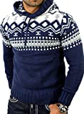 Reslad Norwegian Men's Knitted Winter Hooded Jumper RS-3013 - Blue - Small