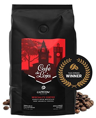 Café de Loja -AWARDED- 100% Arabica Gastronome Whole Bean Coffee (2 Lbs Bag)- Medium/Dark Roast Specialty Coffee Single Origin - Strict High Altitude Hard Bean GMO Free - Most excellently High Mountain Coffee Beans