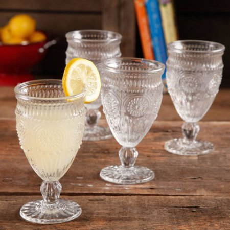 The Pioneer Woman 12 Ounce Clear Elegant Embossed Pressed Footed Goblet Wine Glass (Set of 4)
