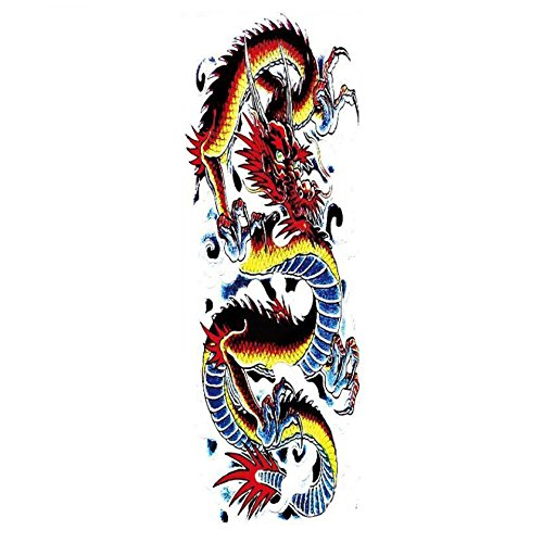 New design and hot selling Full arm colorful dragon realistic and fake temp tattoo stickers for adults